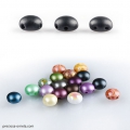 Candy Beads 2-hole 8mm Jet Mat x20