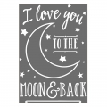 Hotfix Applikation  I love you to the moon and back 24.8x17 cm weiß x1