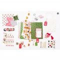 Set mit  8 3D Stickers en  7x15 cm Flocken Rot/Gold