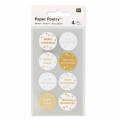 Stickers Paper Poetry Merry Christmas 25 mm silber/goldx32