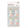 Stickers Paper Poetry Sapins 43 mm Pastel/gold x16
