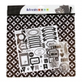 Kit pack scrapbooking Black & WhiteBlatt mit stickersund Stempel