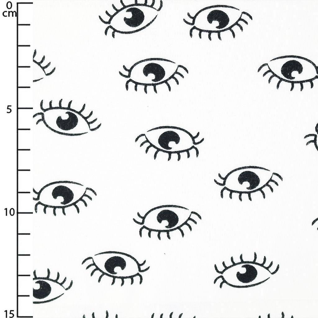 Jersey Stoff Für Kinder Augen Schwarz Weiß X10cm