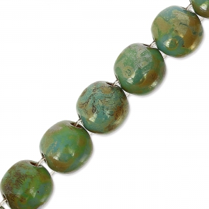 Glasperlen Dobble Beads 2 Löcher 8 mm Green Turquoise Picasso x20