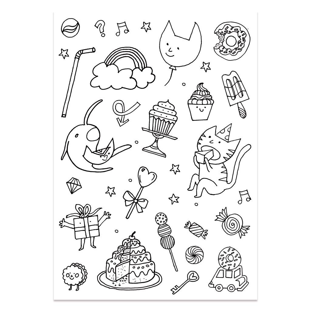 Stickers à colorier Colouring activity motifs Monstre et Insecte ...