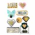 Set von  9 3D Stickers 55 mm gold mind