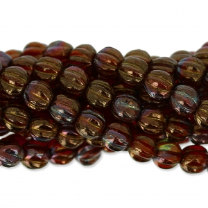 Glasperlen Melon Bead 5mm Ruby Bronze Iris x15