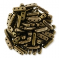 Glasperlen Czechmates Beam Beads 3 Löcher 3x10mm Bronze x5g