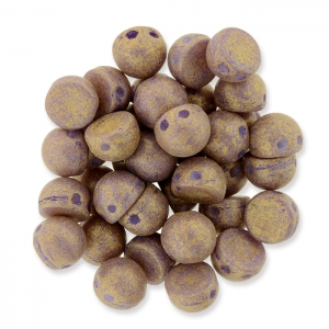 Glasperlen Czechmates Cabochons 2 Löcher 6 mm Fig Pacifica x5g
