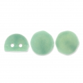 Glasperlen Czechmates Cabochons 2 Löcher 6mm Sueded Gd Gr Turquoise x5g