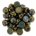 Glasperlen Czechmates Cabochons 2 Löcher 6mm Turq Persian Picasso x5g