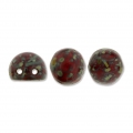 Perles en verre Czechmates Cabochons 2 trous 6mm Red Coral Picasso x5g