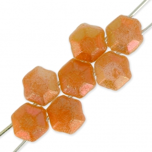 Tscheschiche Glasperlen Honeycomb Jewel 6 mm Opaque White Apricot x20