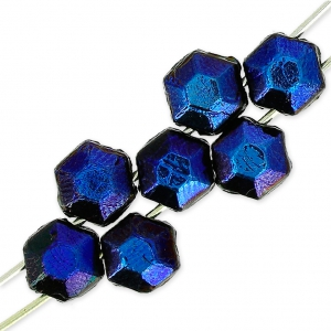 Tscheschiche Glasperlen Honeycomb Jewel 6 mm Jet Azuro x20
