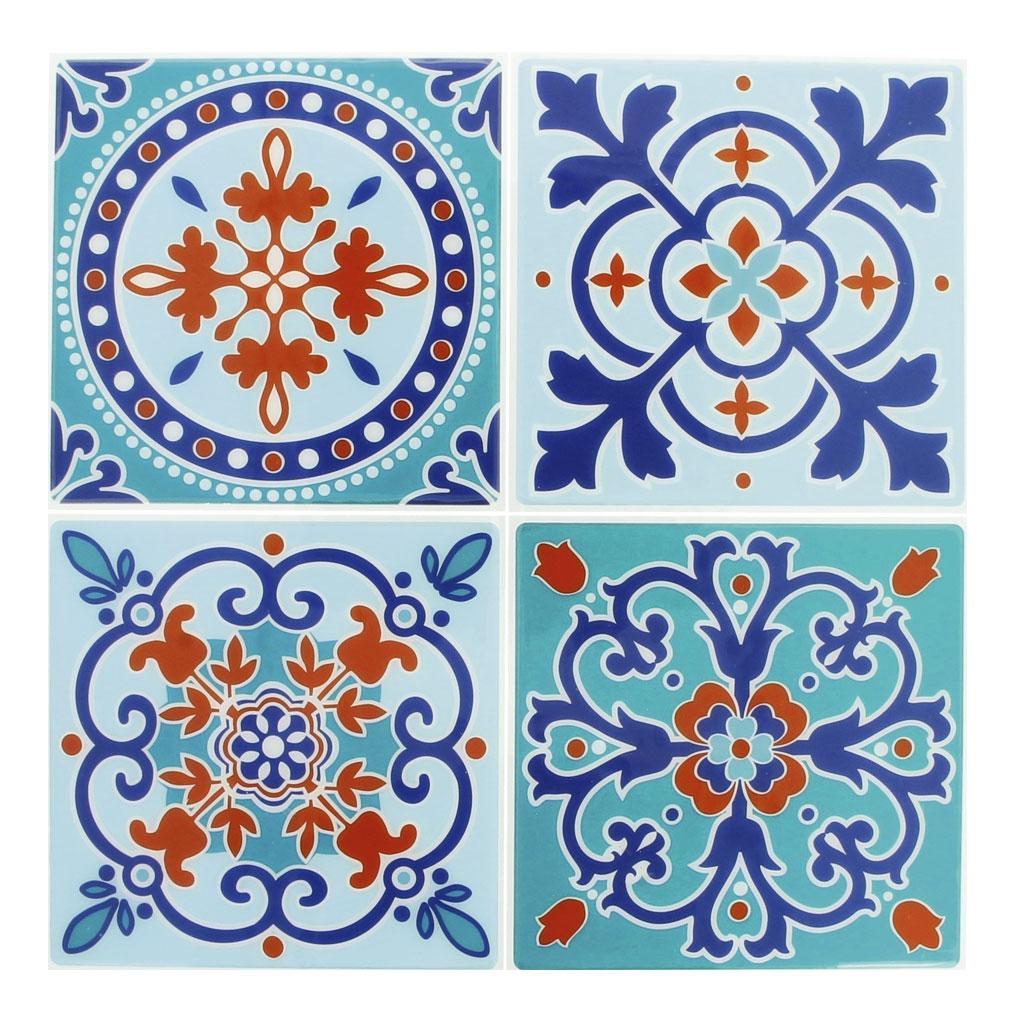 4 aufkleber deko mosaik 12x12cm style azulejos blau for Mosaik aufkleber