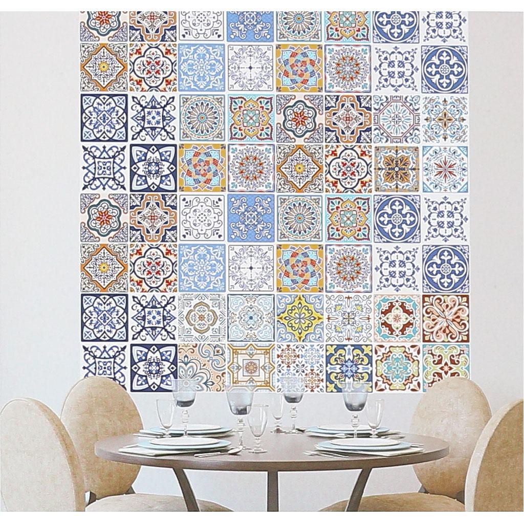 4 aufkleber deko mosaik 12x12cm style azulejos blau for Mosaik deko