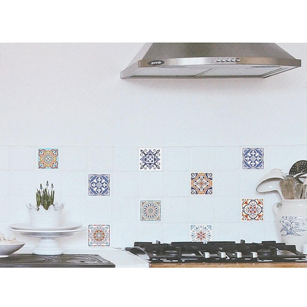4 aufkleber deko mosaik 12x12cm style azulejos minz for Mosaik deko