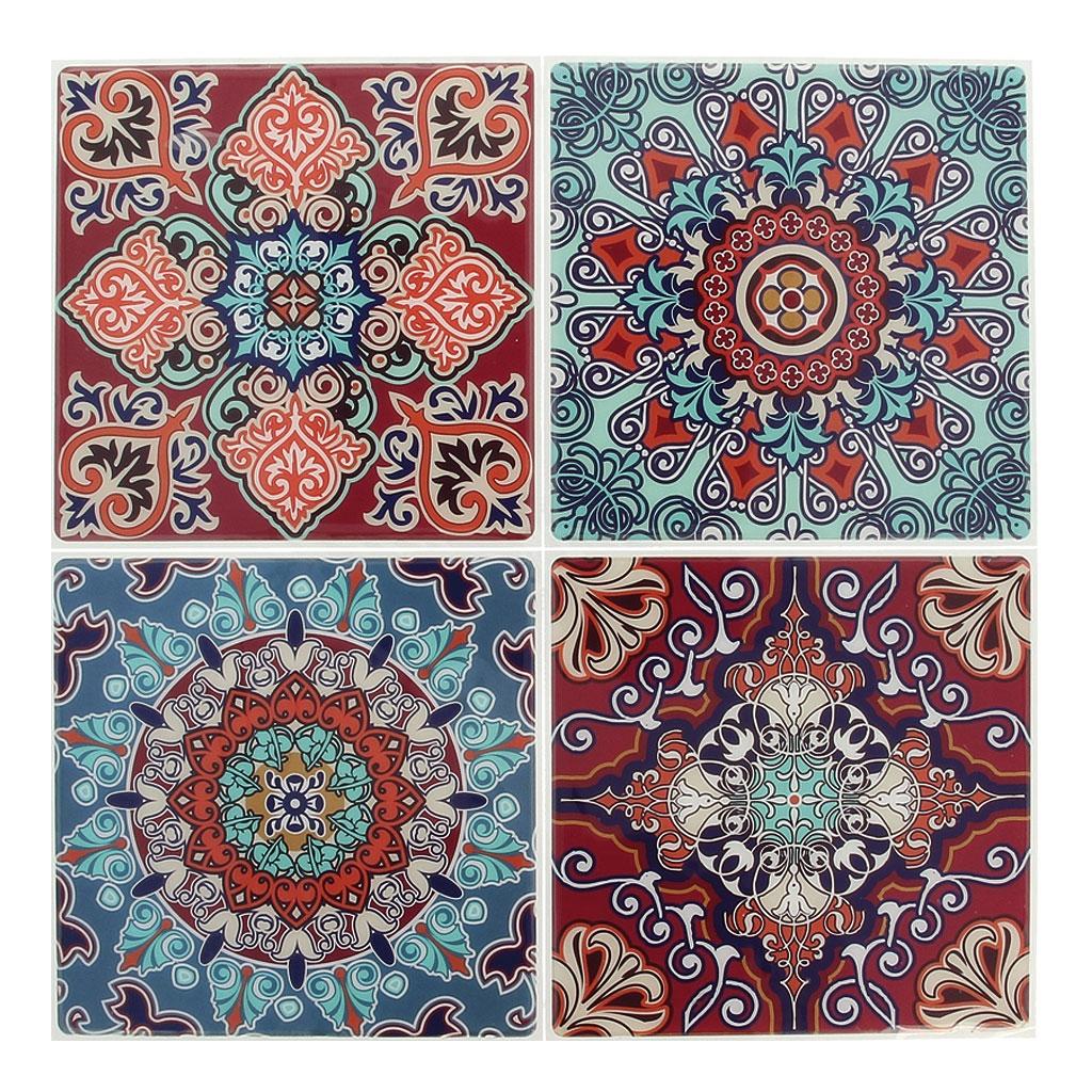 4 aufkleber deko mosaik 12x12cm style azulejos braun for Mosaik aufkleber