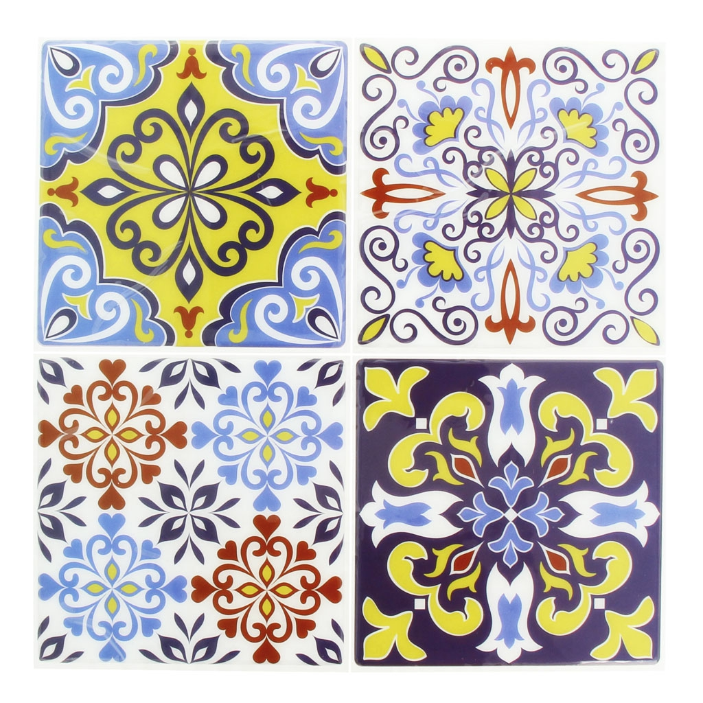 4 aufkleber deko mosaik 12x12cm style azulejos gelb for Mosaik aufkleber