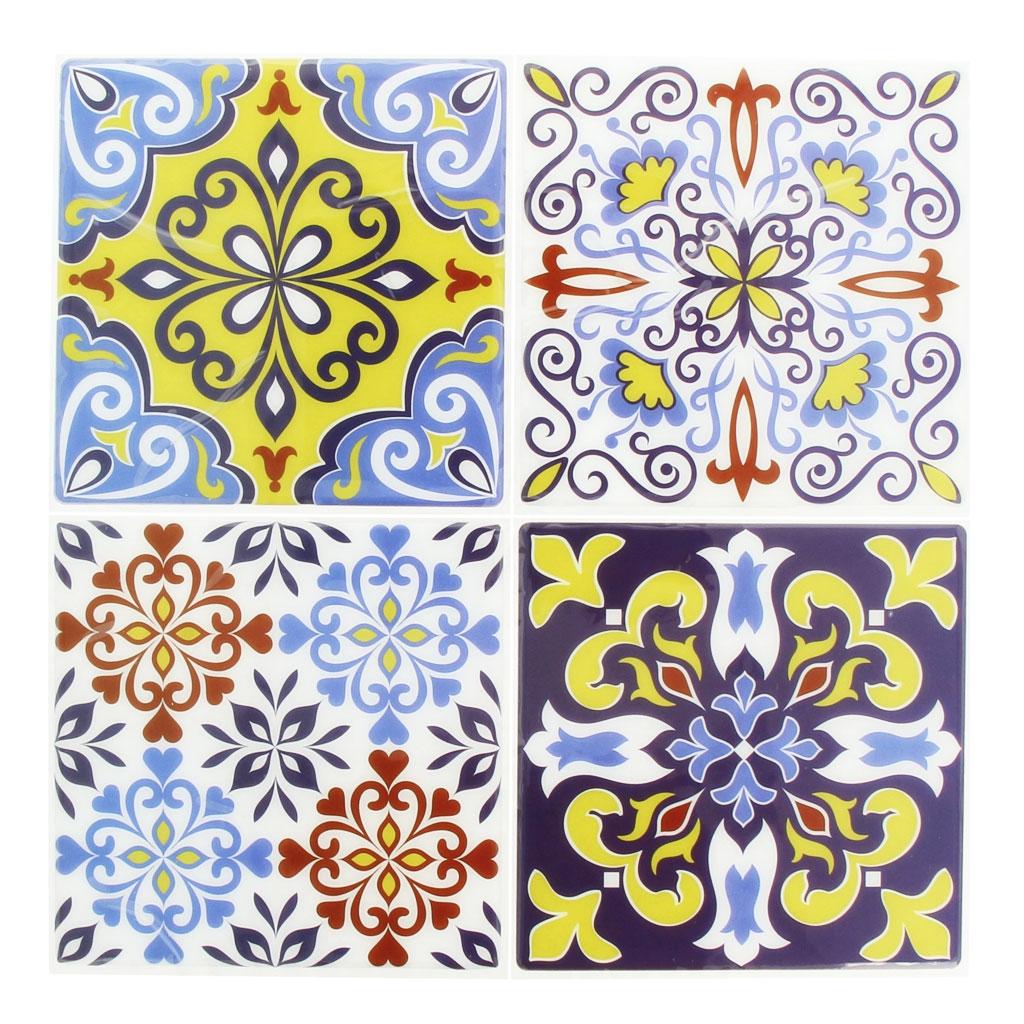 4 aufkleber deko mosaik 12x12cm style azulejos gelb. Black Bedroom Furniture Sets. Home Design Ideas