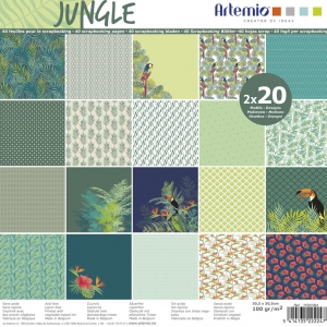 Papier Block scrapbooking 30.5x30.5 cm Jungle x40 Blätter
