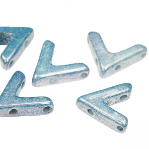 Glasperle V Form 3 Löcher AVA® Bead 10x4 mm Chalk Blue C Look x10