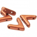 Glasperle V Form 3 Löcher AVA® Bead 10x4 mm Red Copper Mat  x10