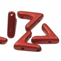 Glasperle V Form 3 Löcher AVA® Bead 10x4 mm Lava Red x10