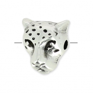Leopard head charm 10 mm antik silberfarben x1