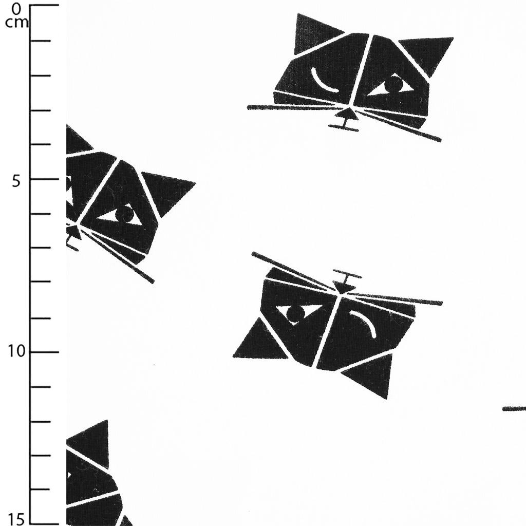 jersey stoff f r kinder katzen schwarz wei x10cm perles co. Black Bedroom Furniture Sets. Home Design Ideas
