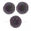Glasperlen Hawaiian Flowers Beads 12 mm Undurchsichtig Lilas Ceramic Look x10