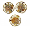 Glasperlen Hawaiian Flowers Beads 12 mm Crystal Travertin x10