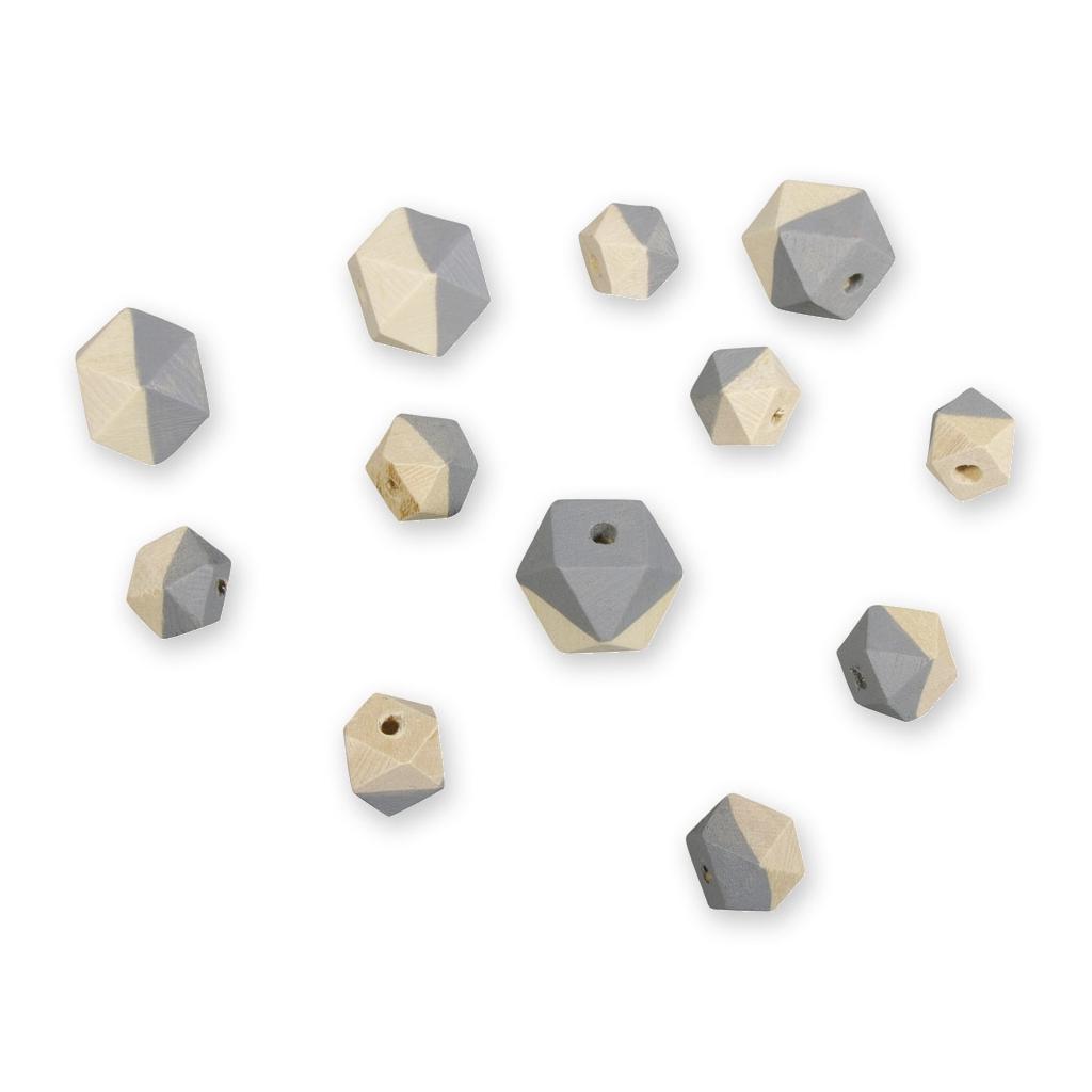 12 holzperlen rhombus form 2 gr e helles grau perles co. Black Bedroom Furniture Sets. Home Design Ideas