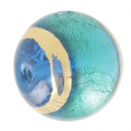 Rundperle Murano Aquamarine Gold umrandet 18mm x1