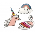 Sortiment von Hotfix Applikationen Magical Summer Einhorn/Regenbogen/Schwan