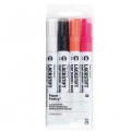 LACKSTIFT - 4 Marqueurs Encre 2 mm - Paper Poetry - Noir/Blanc/Rose Fluo/Orange Fluo