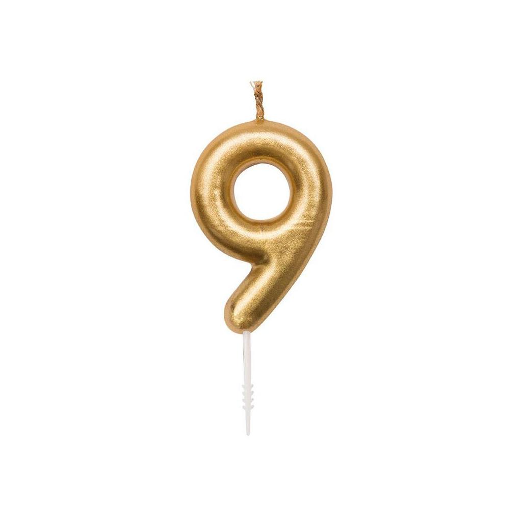 Geburtstag Kerze Nummer 9 - Let\'s Party goldfarbenx1 - Perles & Co