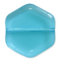 Glasperlen Vintage par Puca® Hexagone 16x15x4 mm Aquamarine x10
