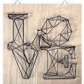 Kit String Art Love aus Rohem Holz Tabelle 22x22cm