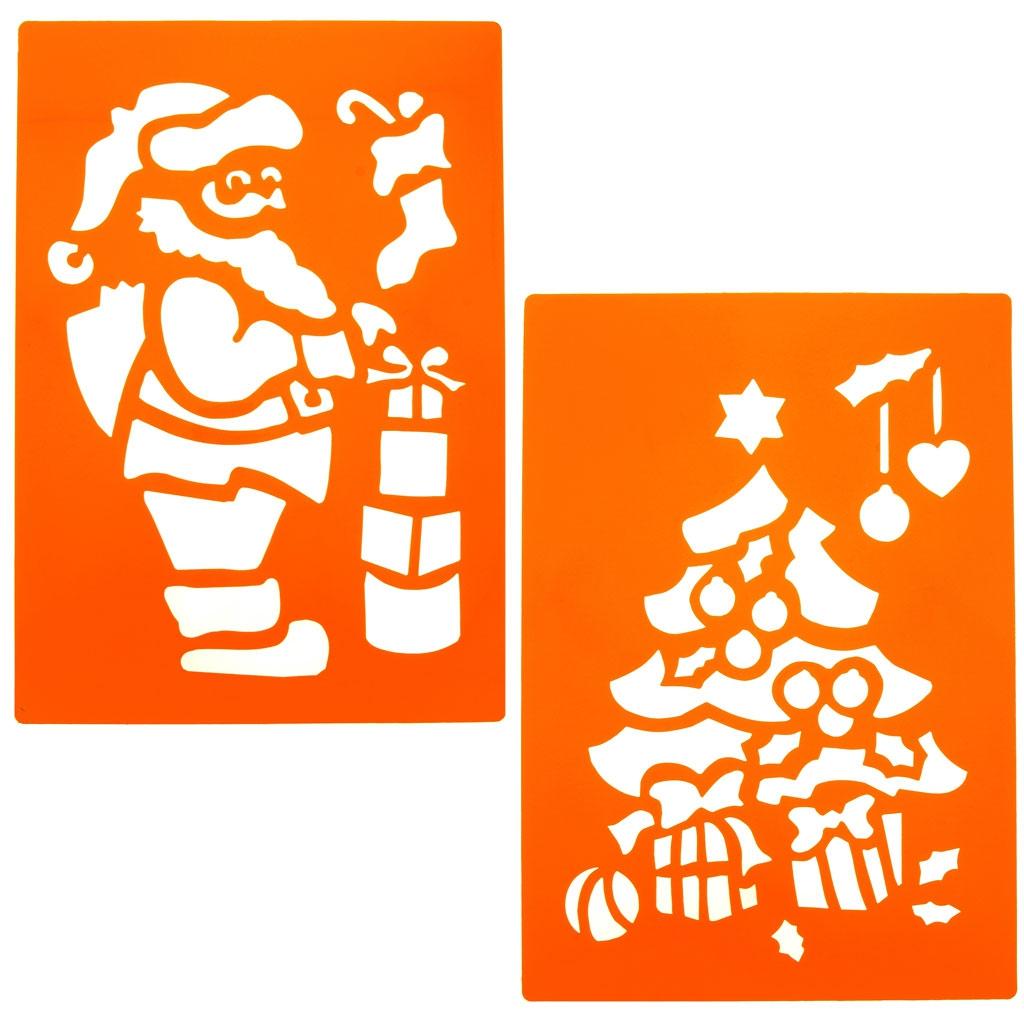 Große Schablone für Kinder 23x33 cm Nikolaus + Tannenbaum x2 - Gra ...