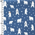 Gewachste Baumwolle Daily Like - Friendly Bear - Ours polaire Bleu x10cm