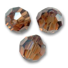 Swarovski 5000 Facettierte Rundperle 4mm Smoked Topaz x20