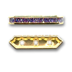 Strass Barette 17x5mm vergoldet Tanzanite 3 Löcher x1