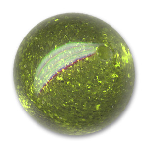 Polaris Rundperle mit Glitter 18mm Olivine x1